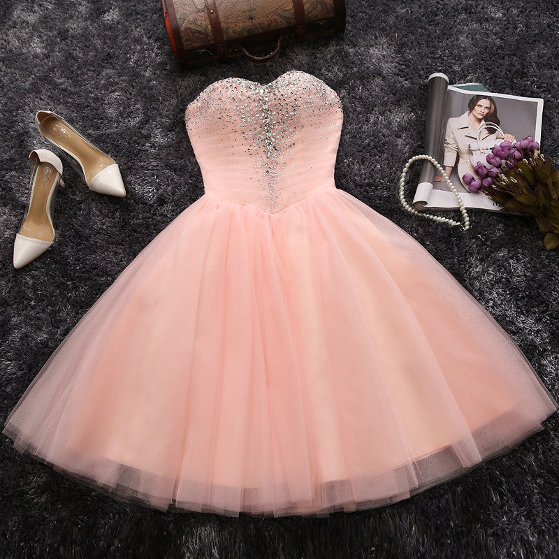 Strapless Sweetheart Blush Pink Beading Tulle Short Homecoming/Prom Dresses OK303