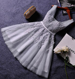 Princess Gray V-neck Lace Appliqued Homecoming Dresses,Grey Tulle Short Prom Dresses OK302