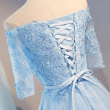 Cute Off shoulder Half Sleeves Lace Appliqued Short Homecoming Dresses OK368