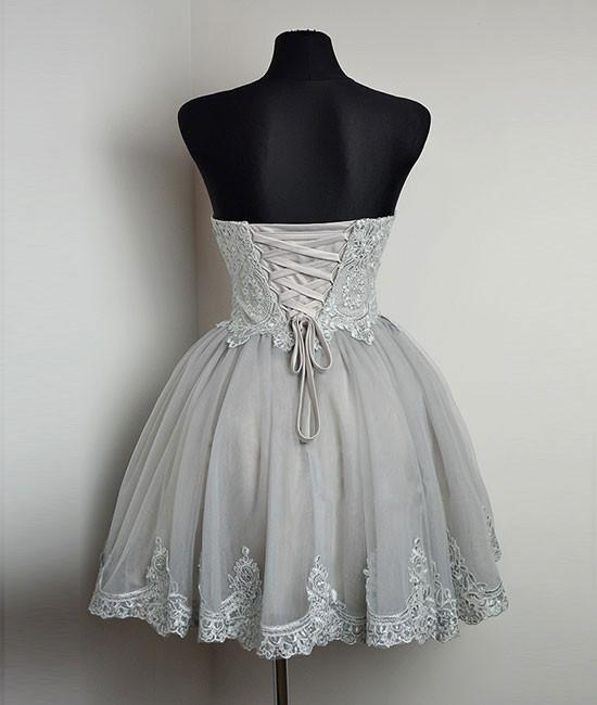 New Strapless Sweetheart Neck Grey Homecoming Dresses Lace Appliqued Short Prom Dresses OK369