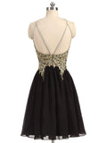 Black Chiffon Gold Beading Lace Halter Backless Homecoming Dresses For Teens OK373
