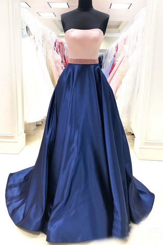 Simple Royal Blue Satin A Line Long Prom Dresses with Pockets OKS81
