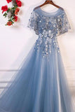 A-Line Blue Tulle Short Sleeves Long Lace Up Formal Evening Prom Dresses OKF29