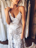 New Arrival Lace Backless V Neck Ivory Spaghetti Straps Beach Wedding Dresses OKC71