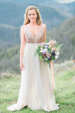 Gold Sequin Chiffon Backless Simple Beach Wedding Dresses with Sash OKF2
