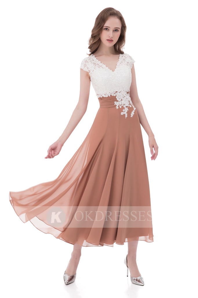 Unique Prom Dress,Chiffon Prom Dresses,A Line Prom Dresses,V Neck Evening Dress,Lace Top Evening Gowns,Cap Sleeves Prom Dress