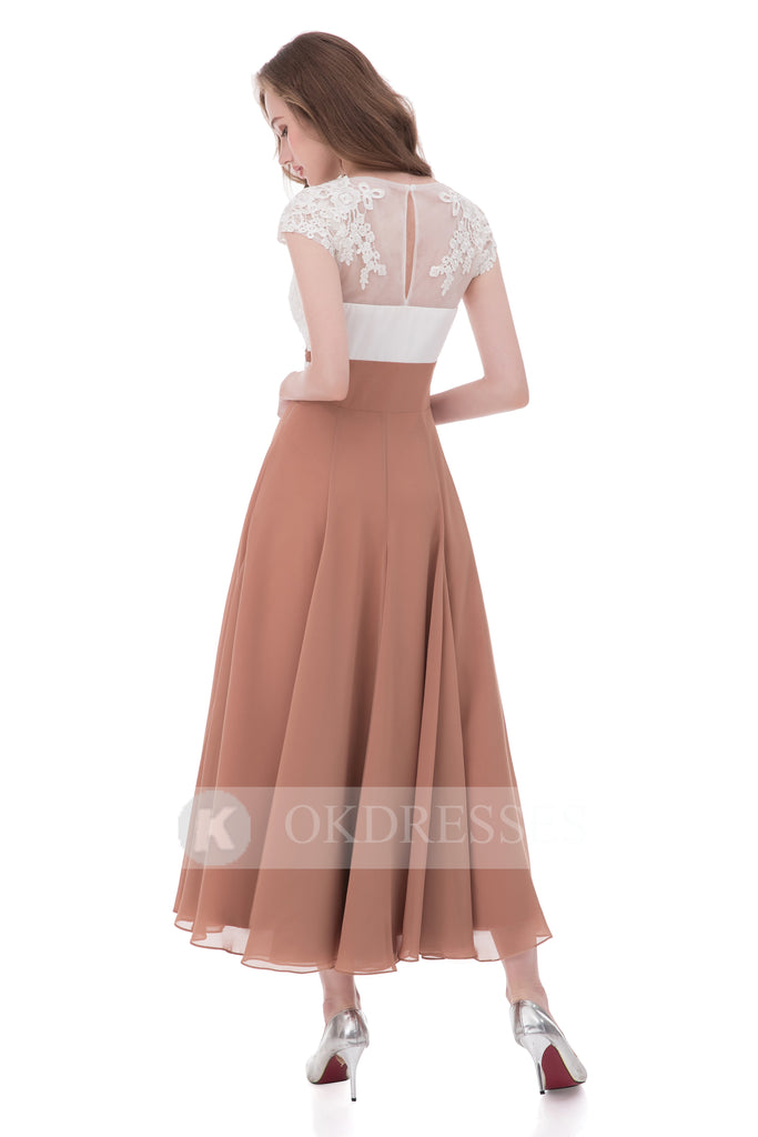 Unique A Line V Neck Chiffon Lace Top Ankle-length Cap Sleeves Prom Dress OK807