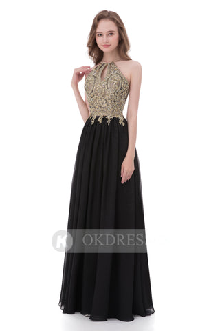 Black Prom Dress,Chiffon Prom Dresses,A Line Prom Dresses,Long Evening Dress,Appliques Evening Gowns,Beading Prom Dress