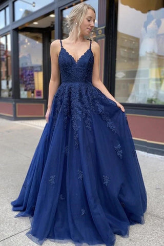 Dark Blue Tulle Lace Applique Spaghetti Straps Long Prom Dress Evening Dress OKT81