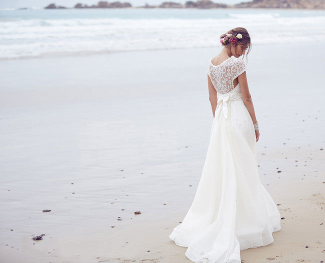 Elegant Lace A Line Round Neck Long Ivory Beach/Coast Wedding Dress OK267