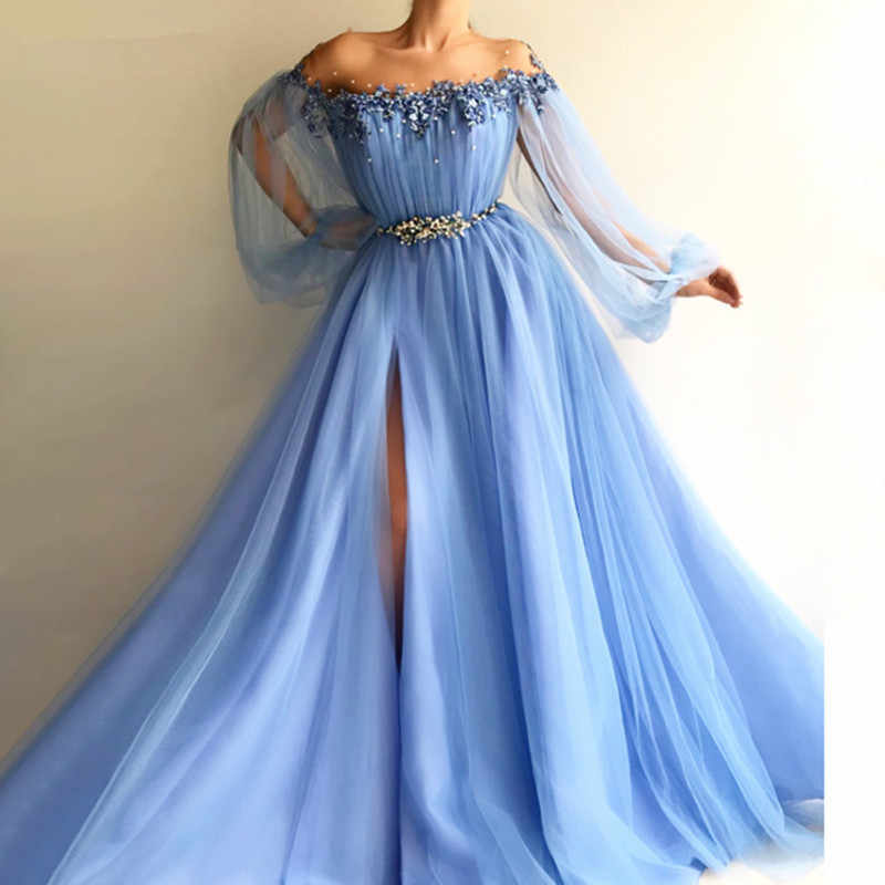 Elegant Blue Long Sleeves Off The Shoulder Beaded Crystal