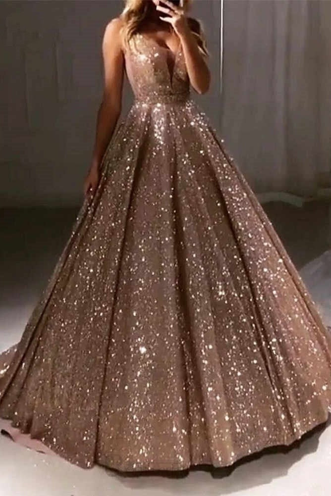Chic Long Ball Gown V-neck Sequin Shiny Party Prom Dresses Pretty Dress OD915