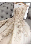 Modest Long Prom Dresses with Lace Appliques Tulle Evening Gown OKT56
