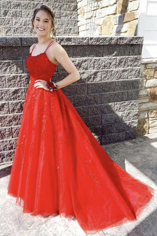 Red Lace Appliques Spaghetti Straps Prom Dresses, A Line Long Formal Evening Dresses OKX9
