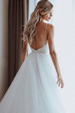Lace Appliques Spaghetti Straps A-Line Boho Wedding Dress Beach Bridal Gowns OKV38
