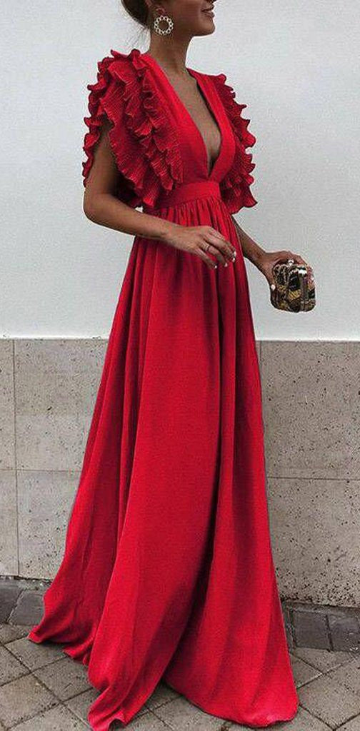 Boho Colorful V Neck A Line Cheap Bridesmaid Dress, Long Modest Dresses OKH12