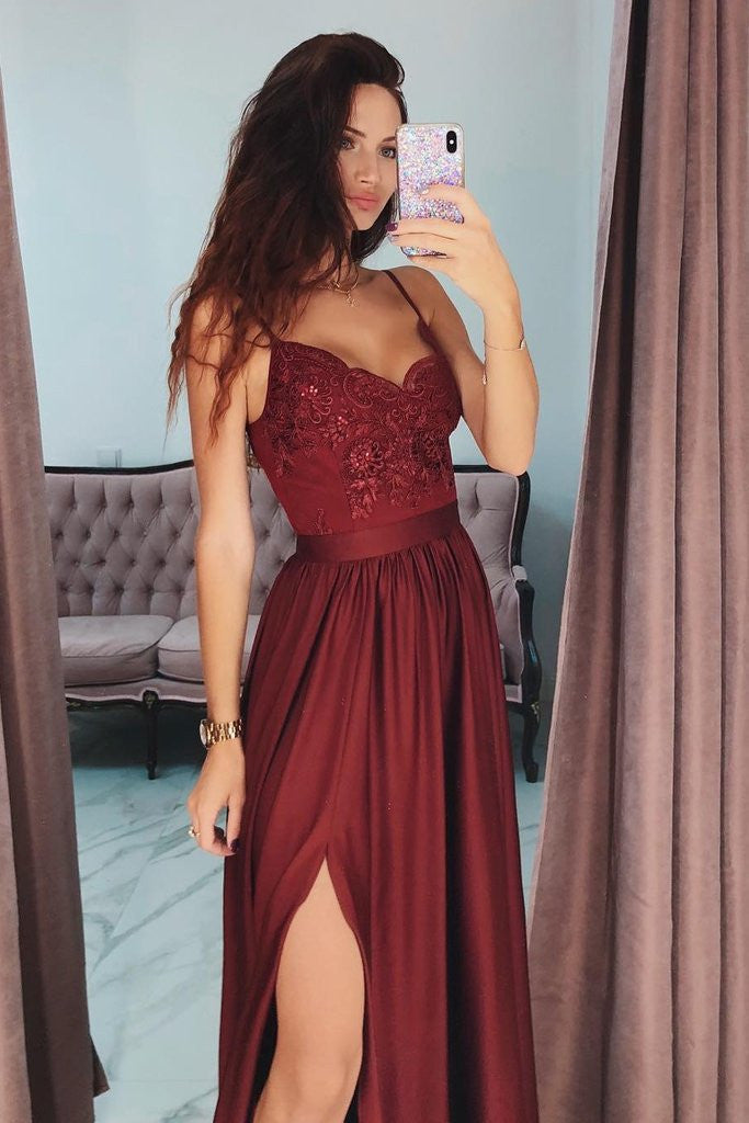Burgundy A Line V-Neck Long Spaghetti Strap Split Prom Dresses With Lace OKH74