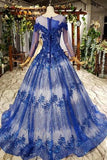 Charming Long Sleeve Tulle Royal Blue Applique Ball Gown Prom Dresses with Beads OKN74