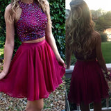 Pretty Sparkly Beaded Chiffon A-line Sleeveless Homecoming Dresses K408