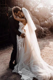 Crystal Sweetheart 3D Floral Appliques Wedding Dresses Formal A Line Beach Wedding Gown OKV9