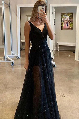 A Line V Neck Sparkly Sequins Black Long Prom Dresses OKU59