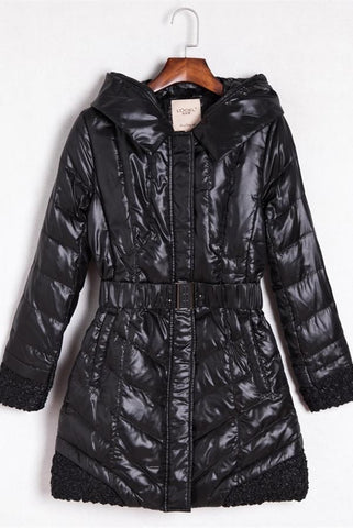 Pretty Black Women's Down Wear Long Style Winter Coat  Free Shipping D11