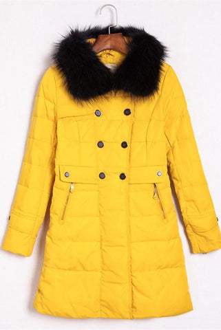 Yellow Comfy Winter Clothes Long Style Women's Down Jackets D7