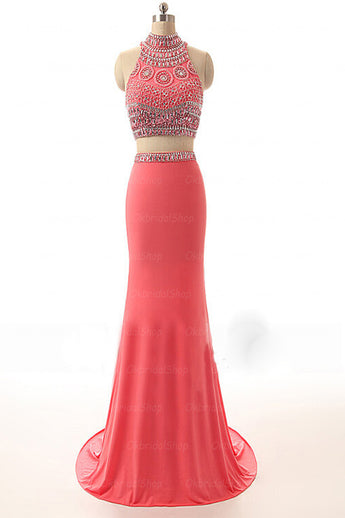 Watermelon Beaded Long Sheath Modest Prom Party Dresses K674