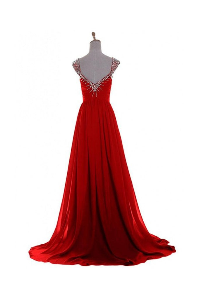 V Neck A-line Red Backless Chiffon Prom Dresses K625