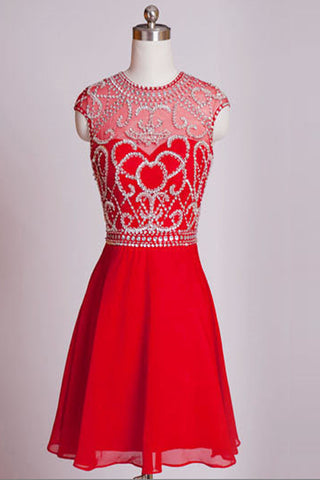 Homecoming Dresses Red Chiffon Cap Sleeves Short Prom Dress ED0658
