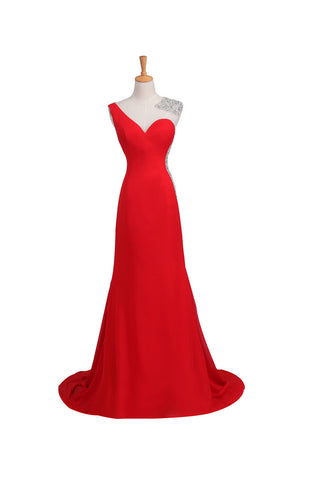 Satin Red Long Beaded One Shoulder Prom Party Dresses ED0659