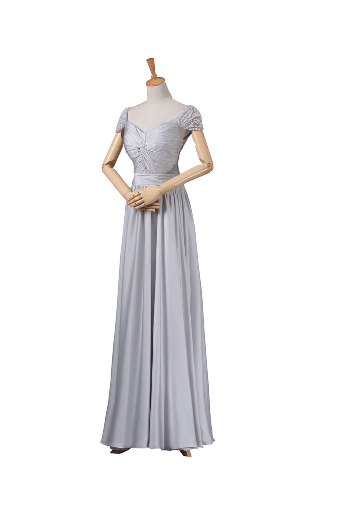 Modest Gray Chiffon Long Prom Dresses ED0661