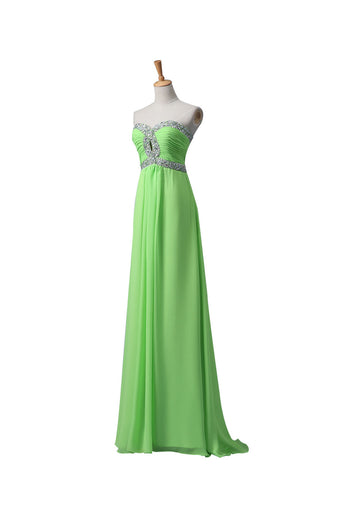 Sage Chiffon Long Beaded Empire Prom Evening Dresses ED0664