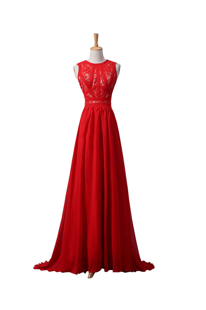 Red Lace Chiffon Beaded Long Prom\Evening Dresses ED0668