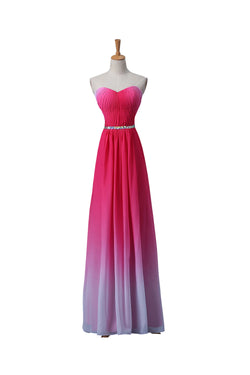 Gradient Ombre Chiffon Long Beaded Prom\Evening Dresses ED0669