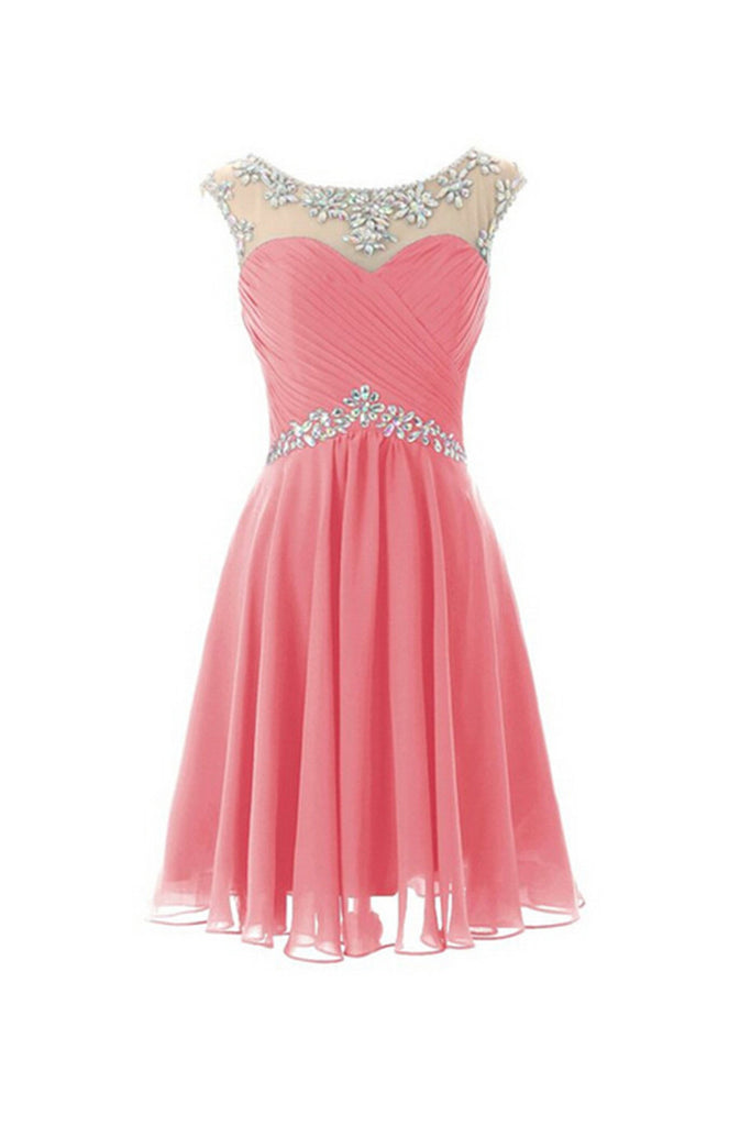 Cap Sleeves Beaded Pink Short Prom Homecoming Dresses ED0672