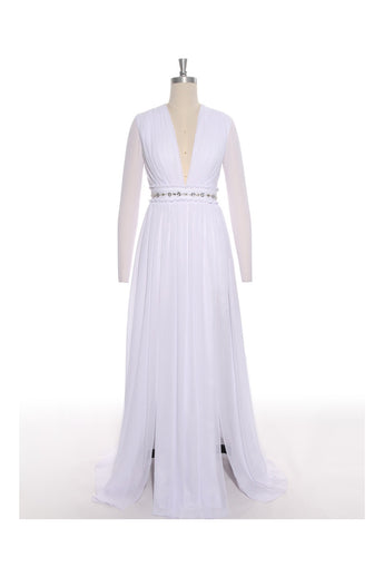 Simple White Chiffon Deep V-neck Long Wedding Dresses ED0674