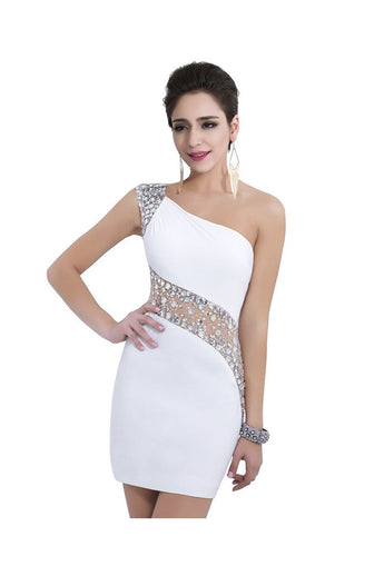 One Shoulder White Beaded Sheath Homecoming Dresses ED0690