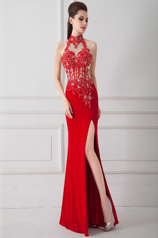 Front Split Sexy Red Beaded Backless Long Prom Dresses ED0699