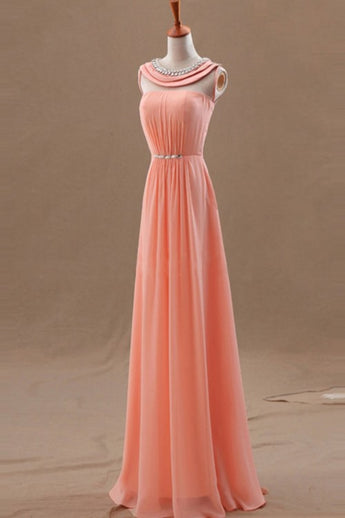 Blush Pink Chiffon Empire Long Prom Evening Dresses ED0706