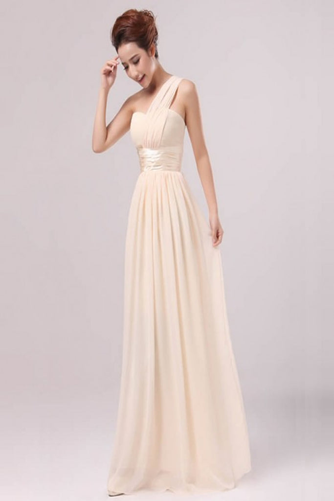 Pearl Pink Chiffon One Shoulder Empire Long Prom Dresses ED0710