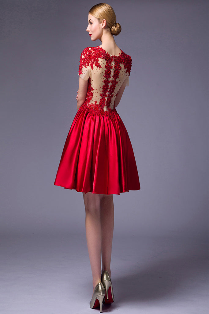 Cap Sleeves Beaded Red Lace Homecoming Cocktail Dresses ED0714