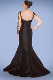 Black Long Sleeves Lace Mermaid   Sheath Prom Dresses ED0715