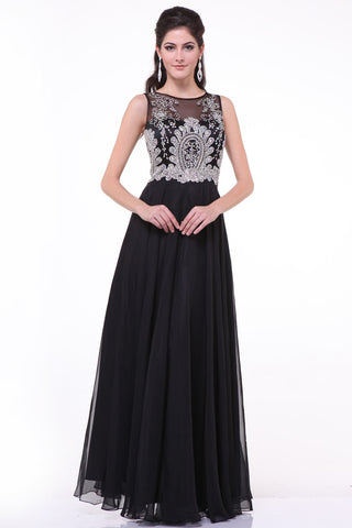 Chiffon Black Beaded Cap Sleeves Long Prom Dresses ED0721