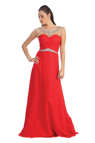 Modest Red Chiffon Beaded Open Back Prom Party Dresses ED0723