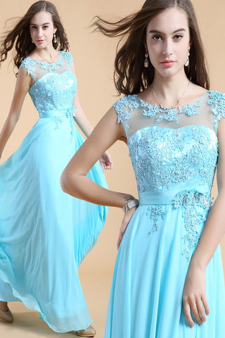 Backless Light Sky Blue  Chiffon Long Lace Beaded Prom Dresses ED0828