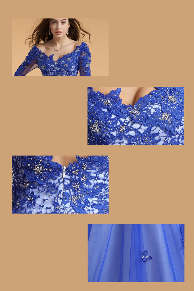 Lace V-neck Blue Half Sleeves Backless Long Prom Dresses ED0829