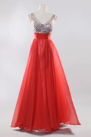 V-neck Beaded Red Long Backless Prom Evening Dresses ED0836