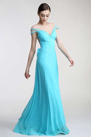 Light Sky Blue Long Deep V-neck Prom Party Dresses ED0838