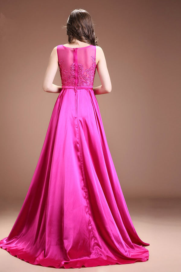 Fuchsia Long Satin Lace Beaded Cap Sleeves Prom Dresses ED0839